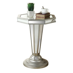 Monarch Specialties - Monarch Specialties 22 Inch Octagon Mirrored Accent Table in Silver, Light Wood - Bring vibrancy into your living room with this mirrored accent table. Its intricate octagonal shape and delicate details are sure to catch anyone's eye. Its sturdy pedestal base provides full support, allowing you to place picture frames, vases and decorative pieces on its smooth mirrored surface. Don't wait to add this must-have table to your home! What's included: Accent Table (1).