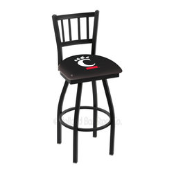 Holland Bar Stool - Holland Bar Stool L018 - Black Wrinkle Cincinnati Swivel Bar Stool - L018 - Black Wrinkle Cincinnati Swivel Bar Stool w/ Jailhouse Style Back belongs to College Collection by Holland Bar Stool Made for the ultimate sports fan, impress your buddies with this knockout from Holland Bar Stool. This contemporary L018 Cincinnati stool carries a defined Jailhouse back that doesn't just add comfort, but sophistication. Holland Bar Stool uses a detailed screen print process that applies specially formulated epoxy-vinyl ink in numerous stages to produce a sharp, crisp, clear image of your desired logo. You can't find a higher quality logo stool on the market. The plating grade steel used to build the frame is commercial quality, so it will withstand the abuse of the rowdiest of friends for years to come. The structure is powder-coated black wrinkle to ensure a rich, sleek, long lasting finish. Construction of this framework is built tough, utilizing solid welds. If you're going to finish your bar or game room, do it right- with a Holland Bar Stool. Barstool (1)