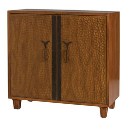 Arteriors - Levi Cabinet - This mid-century inspired, two door cabinet is hand carved from solid wood and has two adjustable shelves and a cord management hole on the inside. The mid-range chestnut finish is accented by the blackened iron hardware and door detail. Makes a great bar or entry console.