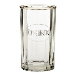 """Mack Drink Glass, Set of 6 - Crafted in the style of collectible Depression-era glass known for a slight heft and pressed patterns, this collection brings a charming simplicity to everyday meals. Juice Glass: 2.5"""" diameter, 3.75"""" high; 4 fluid ounces Highball: 3"""" diameter, 5"""" high; 11 fluid ounces Double Old-Fashioned: 3.5"""" diameter, 3.75"""" high; 11 fluid ounces Goblet: 3.5"""" diameter, 5.5"""" high; 8 fluid ounces Made of machine-molded glass. Set of 6. Dishwasher-safe."""
