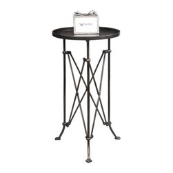 Round Metal Table - A round metal table perfect for tucking in beside your favorite chair. Round Metal Table only.