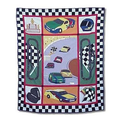 Patch Magic - Racecar Throw - 50 in. W x 60 in. L. 100% Cotton. Handmade, hand quilted. Machine washable. Line or flat dry only