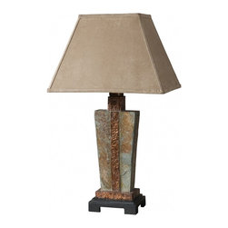 "Uttermost - Hand Carved Copper Slate Accent Lamp - This Indoor/outdoor Lamp Is Made Of Real Hand Carved Slate With Hammered Copper Details. The Rectangle Bell Shade Is A Brushed Suede, Weather Resistant Textile. Due To The Natural Material Being Used Each Piece Will Vary. Dimensions: 12""W X 17""D X 29""H; Finish: The Base Is Made Of Real Hand Carved Slate with Hammered Copper Details; Due to the Natural Material Being Used, Each Piece Will Vary For Indoor/Outdoor Use; Bulbs: Uses Up To 100 Watt Bulbs (Not Included); Lampshade: Rectangular Bell Shade; Weight: 18 lbs; UL Approved"