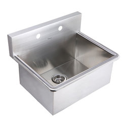 Whitehaus Collection - Whitehaus WHNC2520 25 Noah Stainless Steel Laundry / Utility Sink - This commercial grade stainless steel laundry sink by Whitehaus Collection is top of the line, one of the best sinks in its class. This sink has directional drain grooves to channel water directly to the drain. Features full undercoating over sound deadening pads.