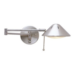 LEDs by ZEPPELIN - LED Swing-Arm Wall Lamp - JW-200 SN - This swing-arm lamp adjusts at the base, elbow and head for easy task lighting. The sleek satin nickel finish adds shine and sophistication. Includes a 6 foot cord and plug. Takes (1) 5-watt LED bulb(s). Bulb(s) included. ETL listed. Dry location rated. Fixture is plug-in and comes with cord and plug.