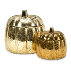 Gold & Orange Mercury Glass Pumpkin Jars - I instantly fell in love with these modern (and slightly glamorous) gold pumpkins. I think they'd be a cute way to store extra Halloween candy too.