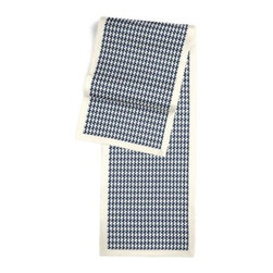 Blue Handwoven Houndstooth Custom Table Runner - Set a table for a king! or just your family and friends!! with our gorgeous Tailored Table Runner. Solid edging adds a touch of refinement, perfectly setting off the center fabric. We love it in this blue and cream woven cotton houndstooth that will cozy up the classic home.