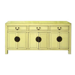 Creme Lacquered Sideboard - Attractive sideboard lacquered in creme color with three drawers and doors below for a dining or living room. Place behind a sofa or beneath a flat screen tv.