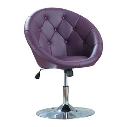 """Coaster - """"Coaster Swivel Chair, Pink/Purple"""" - """"Button tufted swivel chairs in leather-like vinyl with chrome base can adjust in height and tilt. Pairs nicely with chrome-based glass table.Dimensions (W x L x H): 24.75"""""""" x 26.75"""""""" x 32.00-36.00""""""""Seat Depth: 17.50""""""""Upholstery Material: Leather-like vinylFinish/Color: PurpleAssembly Required: YesMade in China"""""""