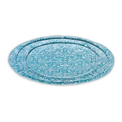 Set of 3 Mini Oval Stacking Trays - Aqua Medallion - Eccentric, stylish pieces like the Aqua Medallion Mini Oval Stacking Trays lend character to dinner parties and interest to home decor. The patterned ceramic, glazed in an on-trend aqua blue, supplies graceful interest and an international artisan look to traditional interiors and transitional ones a like, while the trio of sizes brings versatility as you create your sophisticated vignettes.