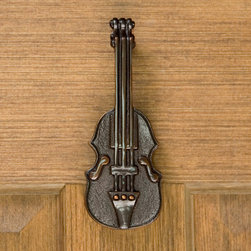 Violin Door Knocker - Express your appreciation for music with this charming Violin Door Knocker. Made from solid brass, this door knocker is a cheery addition to your doorway. Complete with mounting bracket and strike plate.