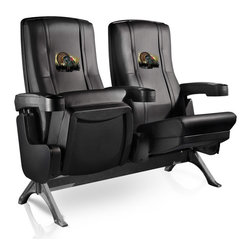 Dreamseat Inc. - Turkey Row One VIP Theater Seat - Quad - Please note: This item is the 4-seat version. We apologize that we do not have photos of 4 together. Check out these fantastic home theater chairs. These are the same seats that are in the owner's VIP luxury boxes at the big stadiums. It has a rocker back and padded seat, so it's unbelievably comfortable - once you're in it, you won't want to get up. Features a zip-in-zip-out logo panel embroidered with 70,000 stitches. Converts from a solid color to custom-logo furniture in seconds - perfect for a shared or multi-purpose room. Root for several teams? Simply swap the panels out when the seasons change. This is a true statement piece that is perfect for your Man Cave, Game Room, basement or garage.