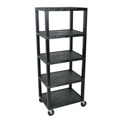 H. Wilson - 5-Shelf Modular Mobile Shelving Cart w Caster - Includes 4 in. swivel casters, two with locking brake. Low profile depth makes them ideal for versatile storage. Shelves are made from injection molded thermoplastic that will not chip, warp, rust, crack or peel under normal use. Lip around back and sides of flat shelves. Made from high density polyethylene and plastic. Made from high density polyethylene and plastic. Black color. Made in USA. Assembly required. 24 in. L x 18 in. W x 78 in. H (40 lbs.). Warranty