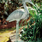 Achla - Blue Heron Garden Statue - Our Blue Heron garden statue stands 31.5 inch high and provides a focal point for your carefully designed garden!  This majestic Heron statue is crafted from durable, non-corrosive cast aluminum, comes with anchoring pins and displays an aged blue/grey verdigris finish. * Cast aluminum with a blue/grey verdi finishComes with anchoring pins31.5in. H