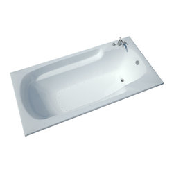 Spa World Corp - Atlantis Tubs 4272EAR Eros 42x72x23 Inch Rectangular Air Jetted Bathtub - The Eros collection features luxuriously designed corner bathtubs, with a traditional oval interior. Molded floor pattern prevents bathers from falling, while adding a piquant flavor to the bathtub's design. Lightweight construction makes installation quick and easy. Interior armrests provide luxury and comfort.  An airpool bathtub creates thousands of warm bubbles that stimulate the skin's light touch receptors, producting an overall calming effect.  An air blower works like a giant hair dryer, taking the room temperature air, increasing it by approximately 30-degrees and blowing it through the bath.  Air baths differ from a whirlpool in that the massage is much softer.  Drop-In tubs have a finished rim designed to drop into a deck or custom surround.  They can be installed in a variety of ways like corners, peninsulas, islands, recesses or sunk into the floor.  A drop in bath is supported from below and has a self rimming edge that is designed to sit over a frame topped with a tile or other water resistant material.  The trim for the air or water jets is featured in white to color match the tub.