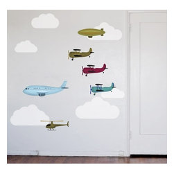 Design Your Wall - Airplanes and Friends - Wall Decal - These vibrant aircraft decals are great for kids' rooms. Includes 3 biplanes, passenger plane, airship, helicopter and clouds.