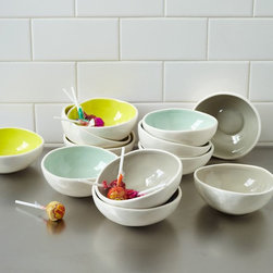 Colored Glaze Prep Bowls - These are excellent for bowl portion control. I'll take a scoop of strawberry, please.