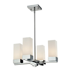 Z-Lite - Z-Lite Sapphire Chandelier X-4-091 - This geometrically inspired four light chandelier uses rectangular matte opal shades in combination with rectangular inspired chrome hardware to create a boldly contemporary statement. Adjustable rods are included to ensure the perfect hanging height.