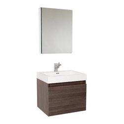 Fresca - Nano Gray Oak Vanity w/ Medicine Cabinet Cascata Brushed Nickel Faucet - This vanity is striking in its simplicity.  Don't forget to check under the hood with the innovative storage system from Blum that includes a nested drawer.  Perfect for smaller bathrooms.  Many faucet styles to choose from.