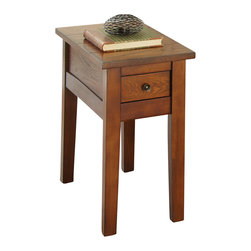 "Steve Silver Furniture - Steve Silver Desoto Chairside End Table in Dark Oak - The rustic country look of the Desoto collection is the height of simple, uncomplicated style. The Desoto chairside table in a dark oak finish stands 24"" high, with a 13"" x 28"" top and a convenient storage drawer. This impressive piece complements the Desoto cocktail table and sofa table."