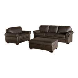 Abbyson Living - Nottingham Dark Brown Premium Italian Leather Oversized Sofa, Chair, and Ottoman - Enhance your living space with this set that will stand beautifully along your accompanying furniture and thoughtful interiors. With the right blend of functionality, style, quality, and comfort, the designs from Abbyson Living have already topped the chart for transitional to modern designs.