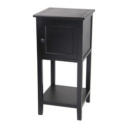 Privilege - Black Single-door Accent Stand - Bring a touch of country charm to your home with this black accent stand,crafted of sturdy wood and accented with metal hardware. The piece features one drawer and a bottom shelf to let you display and store your decor items and living room essentials.