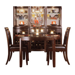 American Drew - American Drew Tribecca 3-Piece Round Leg Table Set in Root Beer Color - The Tribecca mixes it up with modern, Art Deco, and Asian influences. Lighter scaled, with classic clean lines and pared down forms, Tribecca's inviting textures, rich wood tones and nickel finish hardware could be just the fresh look you've been trying to imagine for the new retirement condo on the shore or a trendy city loft.