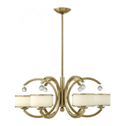 Hinkley - Hinkley Monaco Six Light Brushed Caramel Drum Shade Chandelier - This six light Drum Shade chandelier is part of the Monaco collection and has a Brushed Caramel finish. It is dry rated.