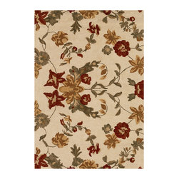 Couristan - Botanique Harper Rug 1182/0035 - 2' x 4' - Bold floral motifs can be mixed with other patterns, like stripes and even polka dots, to create an inviting, cozy-casual look. When using an area rug that acts as a central focal point, incorporate these other complimentary patterns on a smaller scale, like with pillow fabrics or as a subtle accent in draperies.