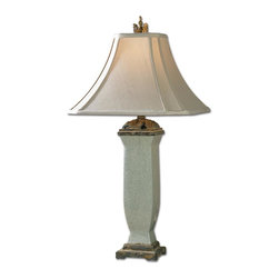 Uttermost - Reynosa Porcelain Table Lamp - Artfully Carved Leaves Complement This Strong Simple Porcelain Shape. The Hand Sewn Linen Textile Shade Is A Square Bell With A Scalloped Bottom. Number Of Lights: 1, Shade: Square Bell With Clipped Corners Shade, Shade Size: Height: 12, Top: 6w X 6d, Bottom: 16w X 16d, Voltage: 110, Wattage: 100w, Bulbs Included: No