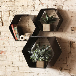 Hexagon Wall Cubbies - Set of 3 - Wall storage should never be boring. And it won't be, with these innovative hexagon cubbies. Just add air plants, knickknacks, and books.