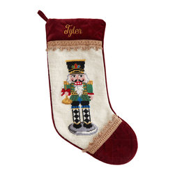 """Horchow - Green Nutcracker Christmas Stocking Monogrammed - Green Nutcracker Christmas Stocking MonogrammedHighlightsShown second from left.Exclusively ours.Handcrafted with wool needlepoint on face.Specify name (up to seven characters/spaces).11""""W x 18""""L.Dry clean.Imported.You will be able to specify personalization details after adding item(s) to your shopping cart. Please order carefully. Orders for personalized items cannot be canceled and personalized items cannot be returned."""