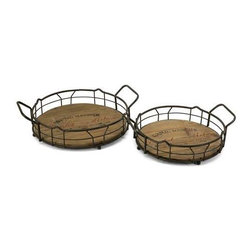 Traineur Serving Trays - Set of 2 - Reminiscent of oak barrels used to age wine, the Traineur serving trays has antiqued logo graphics and wrought iron wine bottle holders.