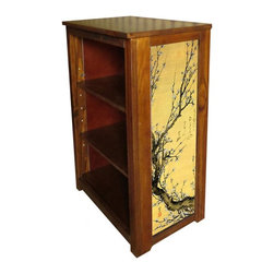 Kelseys Collection - Book cabinet 3 shelf flowering Plum - Book cabinet in solid pine features three adjustable storage shelves with two giclee prints on the side panels, showcasing Hiroshige artwork. The giclee print have three coats of UV inhibitor. Dimensions are 33BY22BY12 Net weight 20 pounds. Three adjustable shelves. Estimated assembly time 20 minutes.