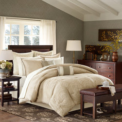 Madison Park - Madison Park Castille 12 Piece Comforter Set - Give modern elegance to your bedroom with the Castille 12 piece Collection. The comforter and sham features a kahki and ivory damask circular geometric pattern that is woven into a polyester jacquard and reverses to a solid khaki color. The set includes a solid khaki tailored bedskirt. The Euro shams feature a solid ivory brushed microfiber fabric that is quilted with a diamond pattern. The set includes a ivory sheet set that is made of T180 Cotton blend fabric. Two decorative pillows are included in the set. This 12 piece set will provide everything you need to complete your bed. Comforter & Sham: 100% polyester jacquard on face side, polyester microfiber 75gsm solid brushed fabric reverse, comforter with 270g/m2 poly fill; sham with over lap opening at back; Bedskirt: 100% polyester fabric drop, non woven platform; Dec Pillows: 100% polyester fabric cover with poly fill; Euro Sham: 100% polyester fabric with diamond quilting; Sheet Set: 50% cotton, 50% polyester 180TC blend fabric