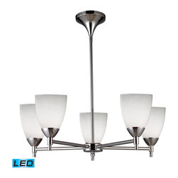 Elk Lighting - Elk Lighting Celina 5-Light Chandelier in Polished Chrome & Simple White Glass - 5-Light Chandelier in Polished Chrome & Simple White Glass belongs to Celina Collection by Designed To Showcase Our Many Blown Glass Options, The Celina Collection Utilizes A Simplified Frame That Embellishes The Shape And Color Of The Glass. Finished In Polished Chrome Or Dark Rust. - LED, 800 Lumens (4000 Lumens Total) With Full Scale Dimming Range, 60 Watt (300 Watt Total)Equivalent , 120V Replaceable LED Bulb Included Chandelier (1)