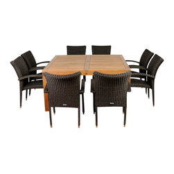 International Home Miami - Amazonia Teak Versailles 9-Piece Teak Square Dining Set - Great Quality, elegant design patio set, made of 100% high quality teak wood. Enjoy your patio with style with these great sets from our Amazonia Teak outdoor collection