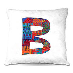 DiaNoche Designs - Pillow Woven Poplin from DiaNoche Designs by Dora Ficher - Letter B - DiaNoche Designs works with artists from around the world to create astouding and unique home decor products.  Toss this decorative pillow on any bed, sofa or chair, and add personality to your chic and stylish decor. Lay your head against your new art and relax! Made of woven Poly-Poplin.  Includes a cushy supportive pillow insert, zipped inside. Dye Sublimation printing adheres the ink to the material for long life and durability. Double Sided Print, Machine Washable, Product may vary slightly from image.