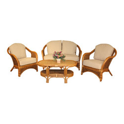 Wicker Paradise - Bahamas Seagrass Rattan Set of 4 - Experience all the benefits of this seagrass and rattan seating set.  The set of 4 includes 1 loveseat, 2 lounge chairs and 1 coffee/cocktail table.  The distinct combination of woven seagrass and rattan poles evokes the feel of rich elegance. The loveseat and chairs come with plush cushions and all furniture is fully assembled.