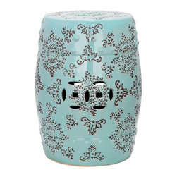 Safavieh - Catania Garden Stool - Adorned with lacey Asian motifs adapted from silk brocade fabrics, the Catania Medallion Garden Stool adds international flare to indoor and outdoor spaces. With gray patterning on light blue glazed ceramic, this versatile piece can be used in pairs in front of a bed, as extra seating or as a handy side table.