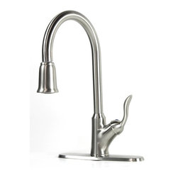 "Ultra Faucets - Classic Lilly Collection Lead Free Pull Out Sprayer Kitchen/Bar Faucet - Classic Lilly Collection Lead Free Pull Out Sprayer Kitchen Faucet. Brushed Nickel Finish. Single Hole Installation. Swivel Spout. Matching Deck Plate Included. Dimensions 15-3/4"" x 8-1/2""."