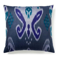 5 Surry Lane - Blue Silk Ikat Pillow - Pretty as a peacock, this silk pillow will surely be the show off on your bed or sofa. The sumptuous color palette works beautifully with the sophisticated silk fabric. Mix this with complementary shades of aquas and deep blues for the most serene spot to rest and relax.