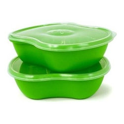Preserve Square Food Storage Containers, Green, Set of 2 - Powered by Leftovers