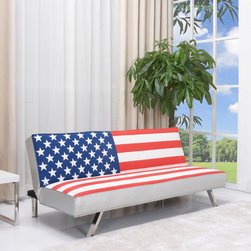 American Flag Futon Sofa Bed - Indulge your patriotic side by adding this American flag futon to your decor. It easily converts from a sofa to a bed. Made of wood, chrome and fabric.