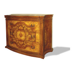 Koenig Collection - Old World Dresser Patricia, Fresco Brown Crackle - Patricia Dresser, Fresco Brown Crackle, Gold, and Scrolls