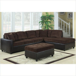 Coaster - Coaster Henri L-Shaped Sectional with Reversible Chaise in Brown - Coaster - Sectionals - 503013 - This casual contemporary sectional offers a plush two-tone look for your living room or family room. Spacious seating allows comfort for the whole family with soft tufted cushion upholstered seats two throw pillows and a contrasting base in rich dark brown vinyl faux leather. With just a few simple steps the chaise can easily be moved to either side of the sofa allowing you to create a configuration that works for your space and meets your needs. Complete your home ensemble with this comfortable sectional sofa.