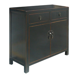 Golden Lotus - Black Chinese Moon Face Sideboard Console Table TV Stand Cabinet - This is a black console table which is made of solid elm wood.  Its outside door comes with Moon Face style designed.  It could be as a good entertainment cabinet. It can be put the TV on the top, and DVD VCR player can be stored in the shelf, two drawers can be stored CD, DVD or remote control.  It is a very functional cabinet.