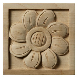 """Ekena Millwork - 3 1/2""""W x 3 1/2""""H x 3/4""""D Medium Sunflower Rosette, Maple - Our rosettes are the perfect accent pieces to cabinetry, furniture, fireplace mantels, ceilings, and more.  Each pattern is carefully crafted after traditional and historical designs.  Each piece is carefully carved and then sanded ready for your paint or stain.  They can install simply with traditional wood glues and finishing nails."""