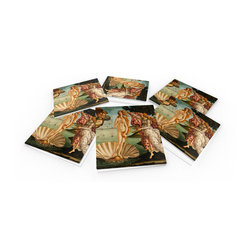 """Custom Photo Factory - Sandro Botticelli The Birth of Venus Crystal Clear Glass Coaster Sets - Made in the USA. Materials: Smooth tempered glass. Set includes:  (6) drink coasters. Dimensions:  3.94"""" x 3.94"""" x 3/16"""".  Image imprinted on the backside so the item on top of the coaster is never interacting with the print surface. The crystal clarity of our glass coasters delivers reliably uniform color reproductions. Crafters, artists and interior designers will find countless ways to use the features of these glass coasters. This will be the highest quality coasters you've even seen."""