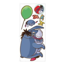 RoomMates Peel & Stick - Winnie the Pooh - Eeyore Giant Wall Decal - Cheer up, Eeyore! This colorful wall decal of Pooh's gloomy friend is perfect for nurseries or a child's bedroom. Parents will love how easy Eeyore is to apply and remove, with no damage to the surface or sticky residue left behind. Pair Eeyore with our giant Tigger, Pooh, and Piglet decals, or add in our peel and stick wall border for a full Pooh and Friends room makeover! Does your room need a little Disney magic? Look no further! This giant wall decal of Eeyore from the classic Winnie the Pooh series is great for fans of any age. Coordinates perfectly with any of the other designs in our Pooh and Friends collection, Winnie the Pooh and Tigger, too! Celebrate the timeless tale of Winnie the Pooh and his friends with our selection of adorable Winnie the Pooh wall decals, pre-pasted borders, growth charts, and wallpaper. Our Pooh and Friends wall decor collection is the perfect way to decorate a nursery or child's room! .